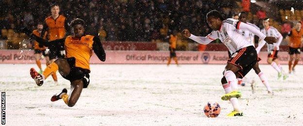Snow at Wolves v Fulham