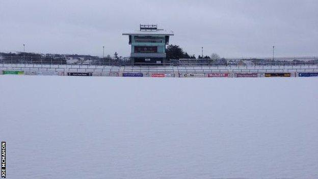 Healy Park was covered in snow