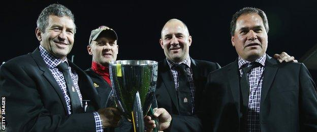 Tom Coventry (second from right) with the Chiefs coaching team after winning the Super Rugby title