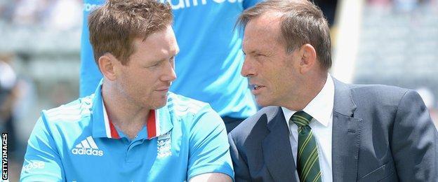 Eoin Morgan and Tony Abbott