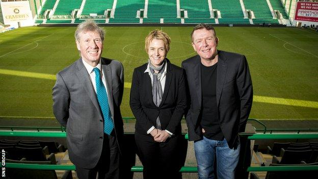 Founding Directors of the Hibernian Supporters Limited Charlie Reid (right), MSP for Edinburgh Eastern Kenny MacAskill (left) and Hibernian chief executive Leeann Dempster