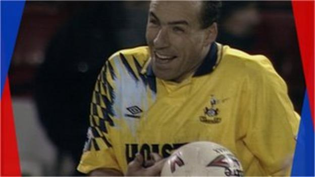 Ronny Rosenthal celebrates after scoring a hat-trick for Tottenham