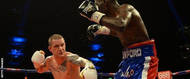 Ricky Burns in action against Terence Crawford