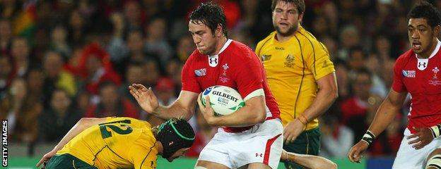 Ryan Jones played at number eight for Wales in their 2011 Rugby World Cup third-place play-off defeat to Australia