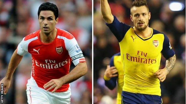Mikel Arteta and Mathieu Debuchy