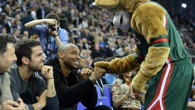 Thierry Henry, Cesc Fabregas and Bango at the O2