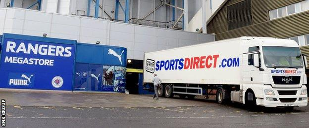 Sports Direct has lodged advance notices of loan securities against Ibrox and Murray Park