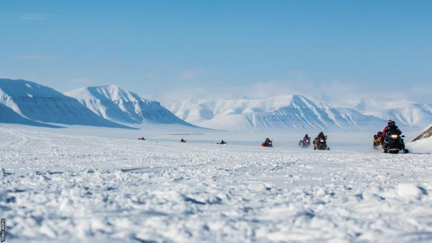 Ski Sunday presenter Ed Leigh and Co took six hours on a sled to travel from Longyearbyen the capital of Svalbard - and one of the world's northern most permanent human settlements - to the Arctic wilderness