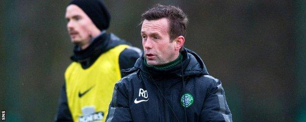 Ronny Deila takes Celtic training