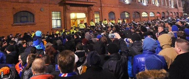 The protest at Ibrox