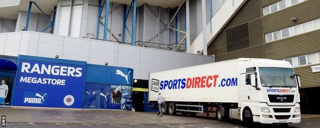 A Sports Direct lorry delivers at Ibrox