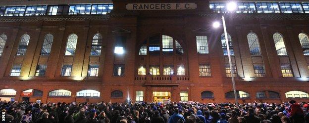 Rangers fans protest outside Ibrox
