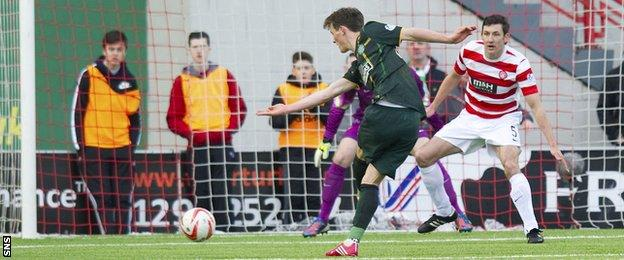 Liam Henderson scores for Celtic against Hamilton Academical