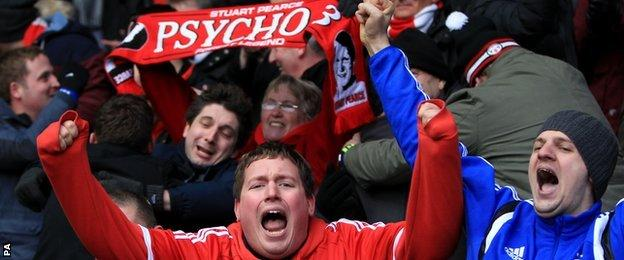 Nottingham Forest fans celebrate the win over fierce rivals Derby County
