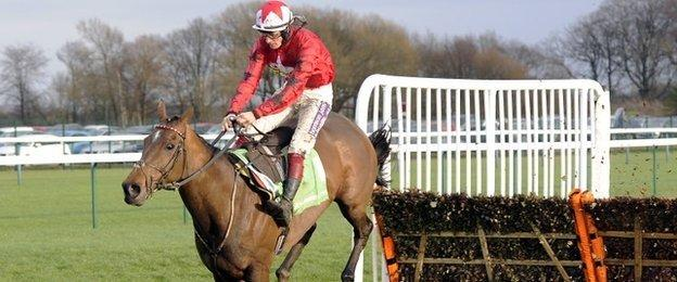 The New One, ridden by Sam Twiston-Davies for father Nigel, wins the Champion Hurdle Trial at Haydock