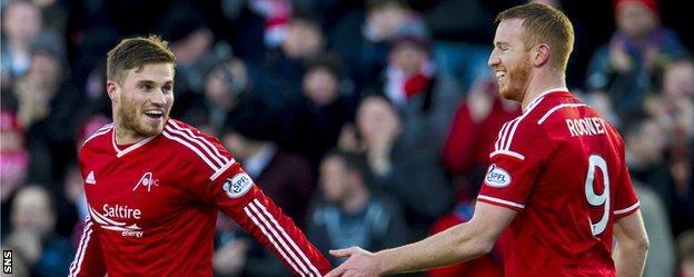 David Goowillie celebrates his goal with Adam Rooney