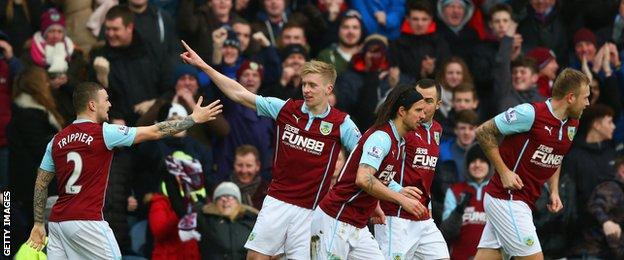 Ben Mee scores his first goal for Burnley