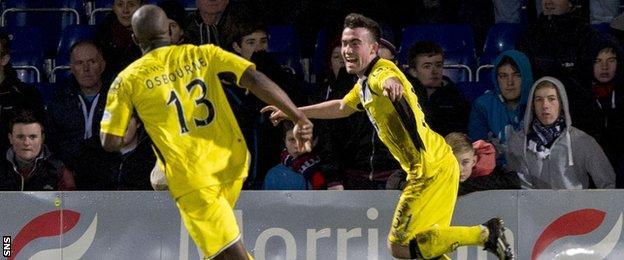 St Mirren players Isaac Osbourne and Stephen Mallan celebrating