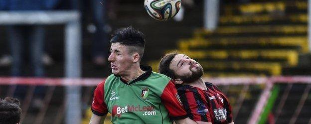 Action from Crusaders' win over Glentoran at the Oval