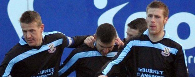 Allan Jenkins, Matthew Tipton and Darren Boyce all scored for Ballymena