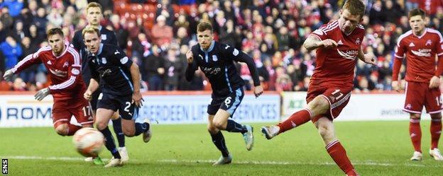 Jonny Hayes scores from the penalty spot for Aberdeen