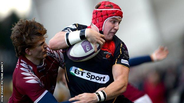 Centre Tyler Morgan scored one of Dragons' six tries at Newcastle