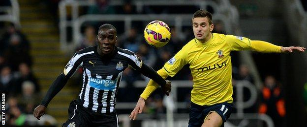 Newcastle's Massadio Haidara in action against Dusan Tadic