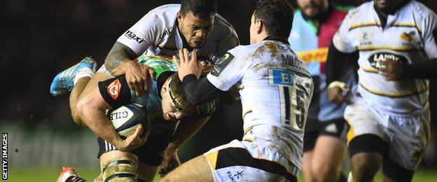 Wasps' Alapati Leuia and Rob Miller gang up on Jack Clifford