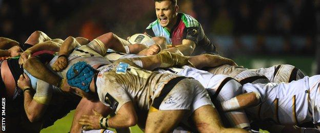 Danny Care waits to put the ball in for Quins at a scrum