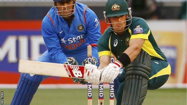 Aaron Finch batting against India at the MCG