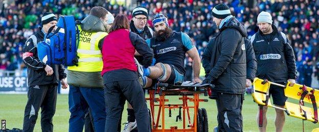 Josh Strauss was stretchered off