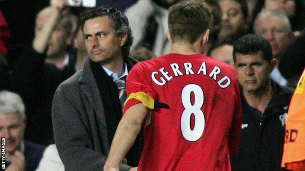 Jose Mourinho and Steven Gerrard
