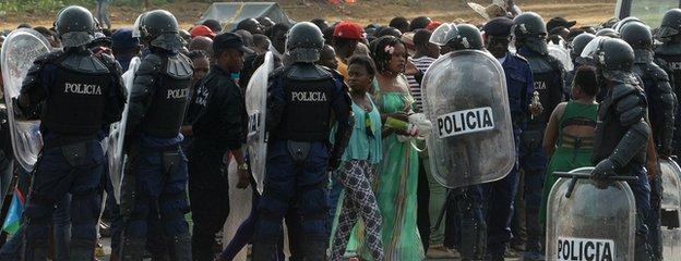 There was a heavy police presence before Zambia v DR Congo