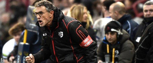 Toulouse coach Guy Noces rages on the touchline