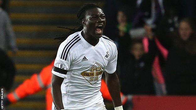Bafetimbi Gomis joined Swansea on a free transfer in June 2014 from Lyon