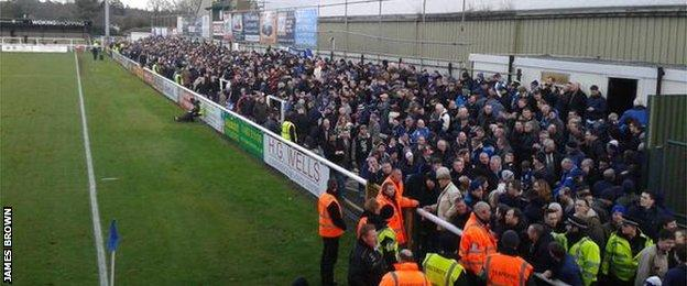 Bristol Rovers fans at Woking