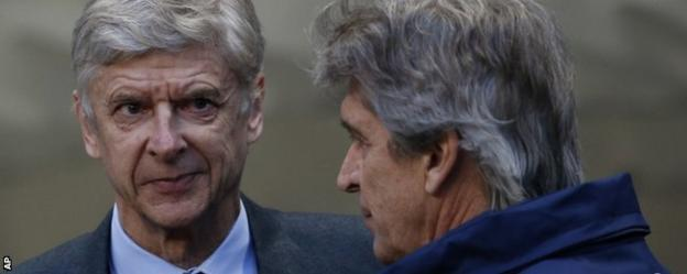 Arsenal manager Arsene Wenger and Manchester City boss Manuel Pellegrini