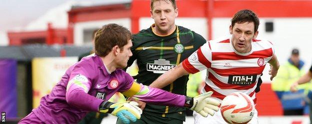 Michael McGovern and Martin Canning in action against Celtic