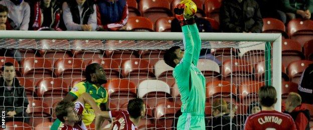 Dimitros Konstantopoulos claims a cross as Middlesbrough beat Norwich