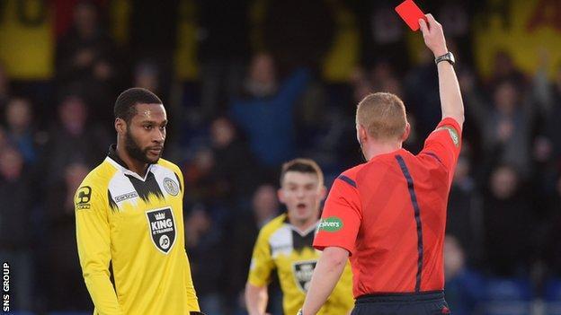St Mirren striker Yoann Arquin was sent off against the club he left this month