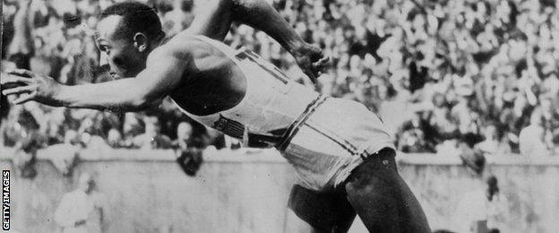 Jesse Owens at the 1936 Berlin Olympics