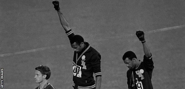 Mexico Olympics black power salute by Tommie Smith and John Carlos