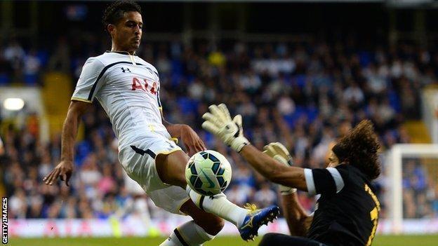 Kyle Naughton in action for Tottenham