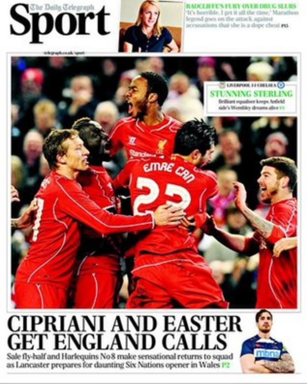 Wednesday's Daily Telegraph sports supplement