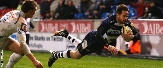 Danny Cipriani dives over to score for Sale in the win against Exeter