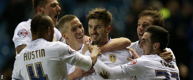 Leeds celebrate their goal