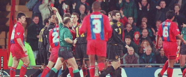 Eric Cantona is shown a red card by referee Alan Wilkie