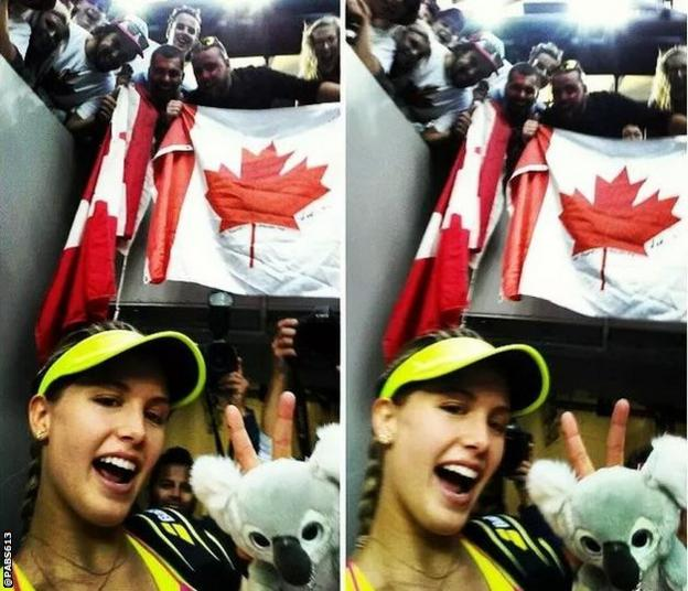 Eugenis Bouchard takes a selfie with Canada fans