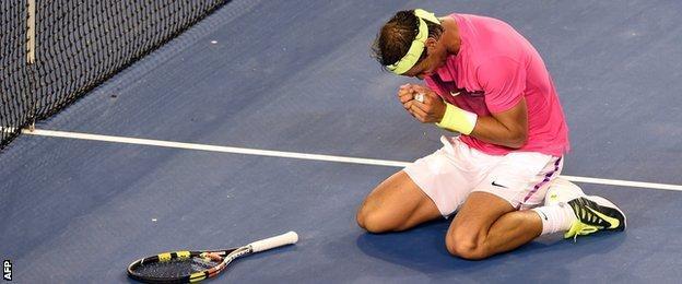 Rafael Nadal celebrates beating Tim Smyczek