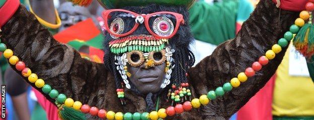 A Burkina Faso fan in full costume